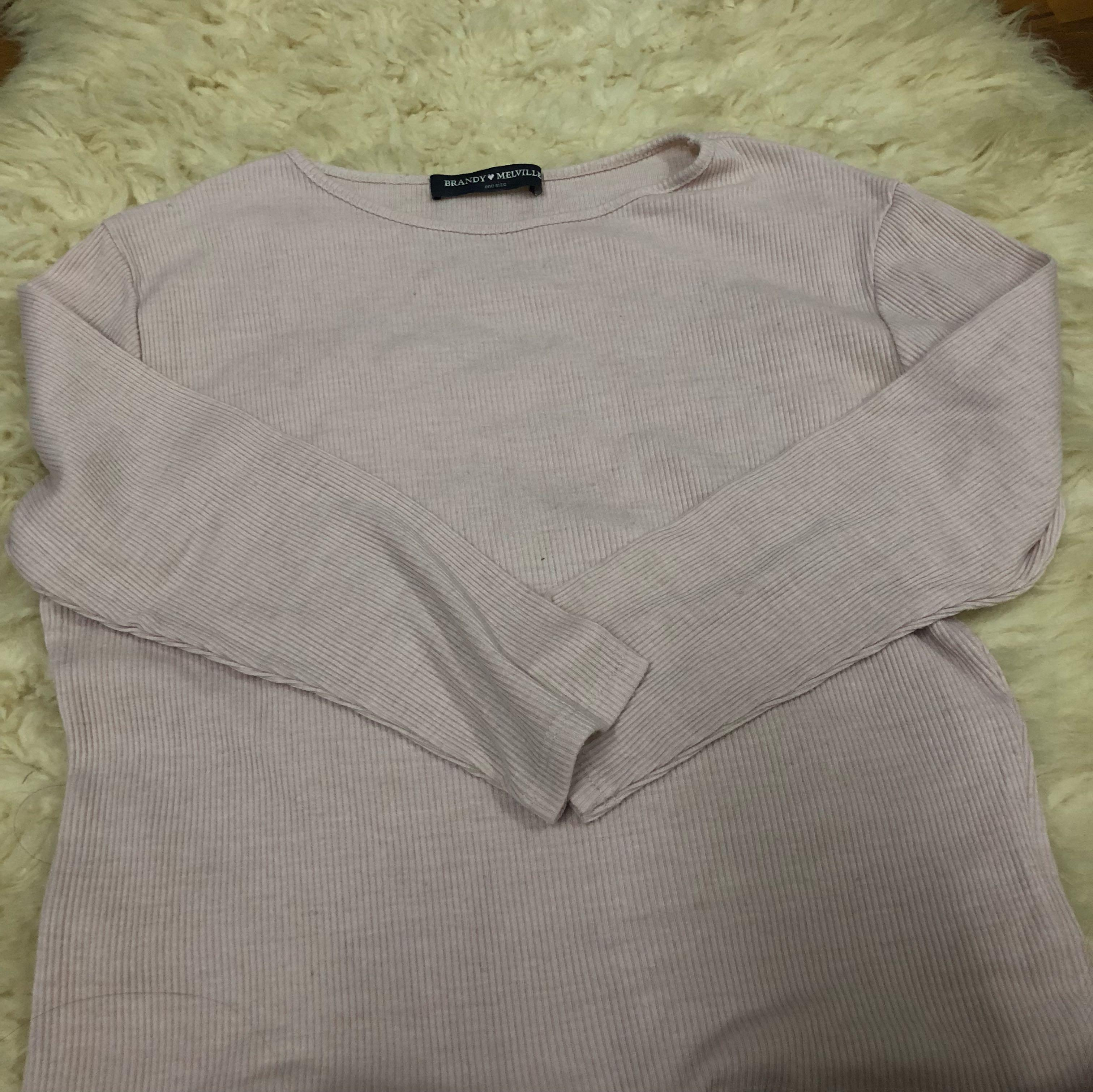 Brandy Melville May 3/4 long sleeve top in blush pink
