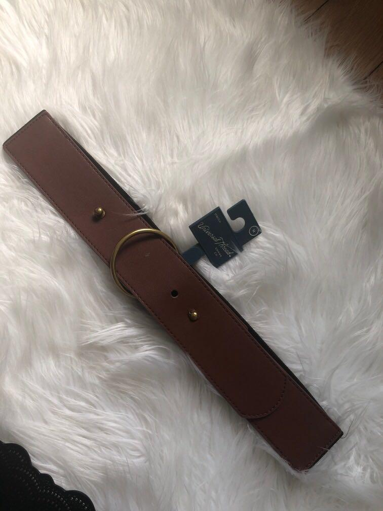 Brown circle buckle waist belt
