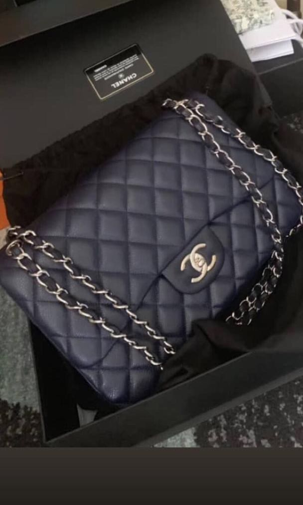 999d79ccd7b1 Chanel Jumbo Navy Blue Caviar with SHW., Luxury, Bags & Wallets ...
