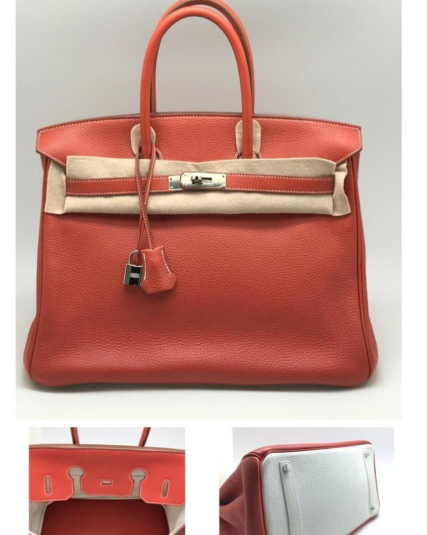 #cintaibumi - VGC! Pre❤Hermes B35 Sanguine eclat Blanc Togo PHW stamp O, comes with dustbag, carecard, clochette, padlock&key, raincoat #5