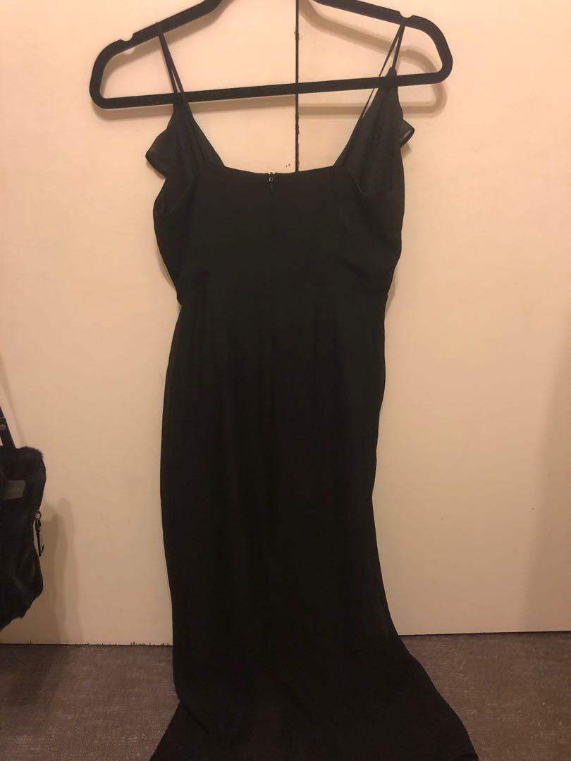 Cooper street black midi dress with split