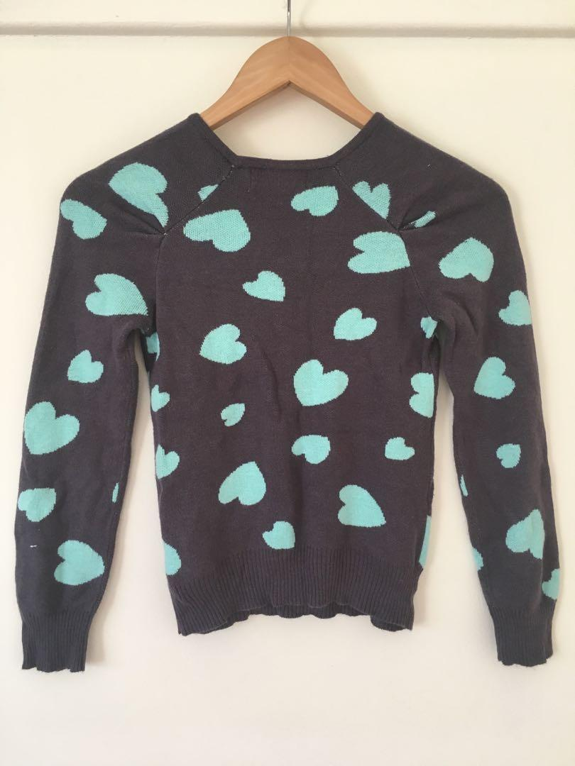 Forever 21 grey jumper with blue heart print size 4-6