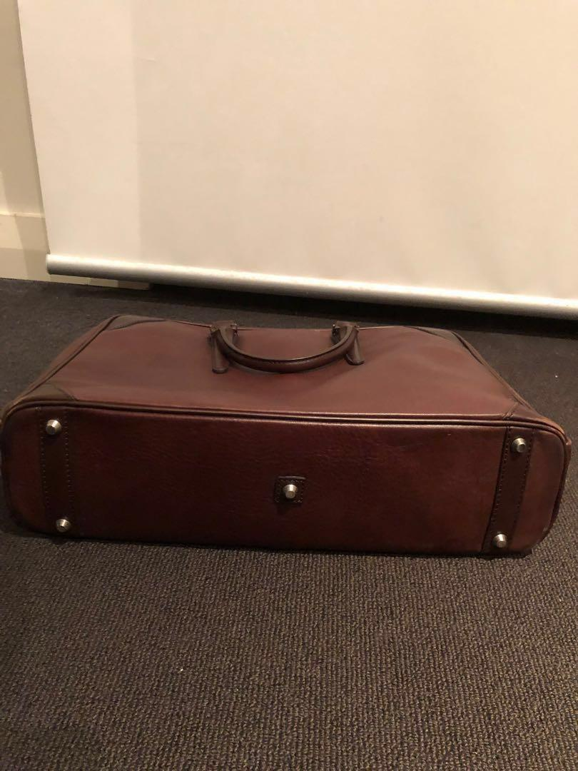 Fujitaka brown leather business bag briefcase USED