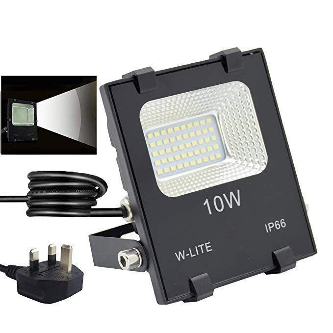 Hg140 10w Led Flood Lights Uk Plug Waterproof Floodlight Security Lighting Super Bright 50 Chips Soft Daylight White