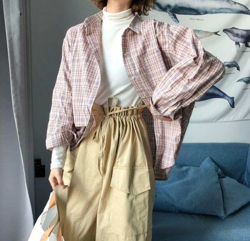 Instock Light Pink Plaid Shirt Outerwear