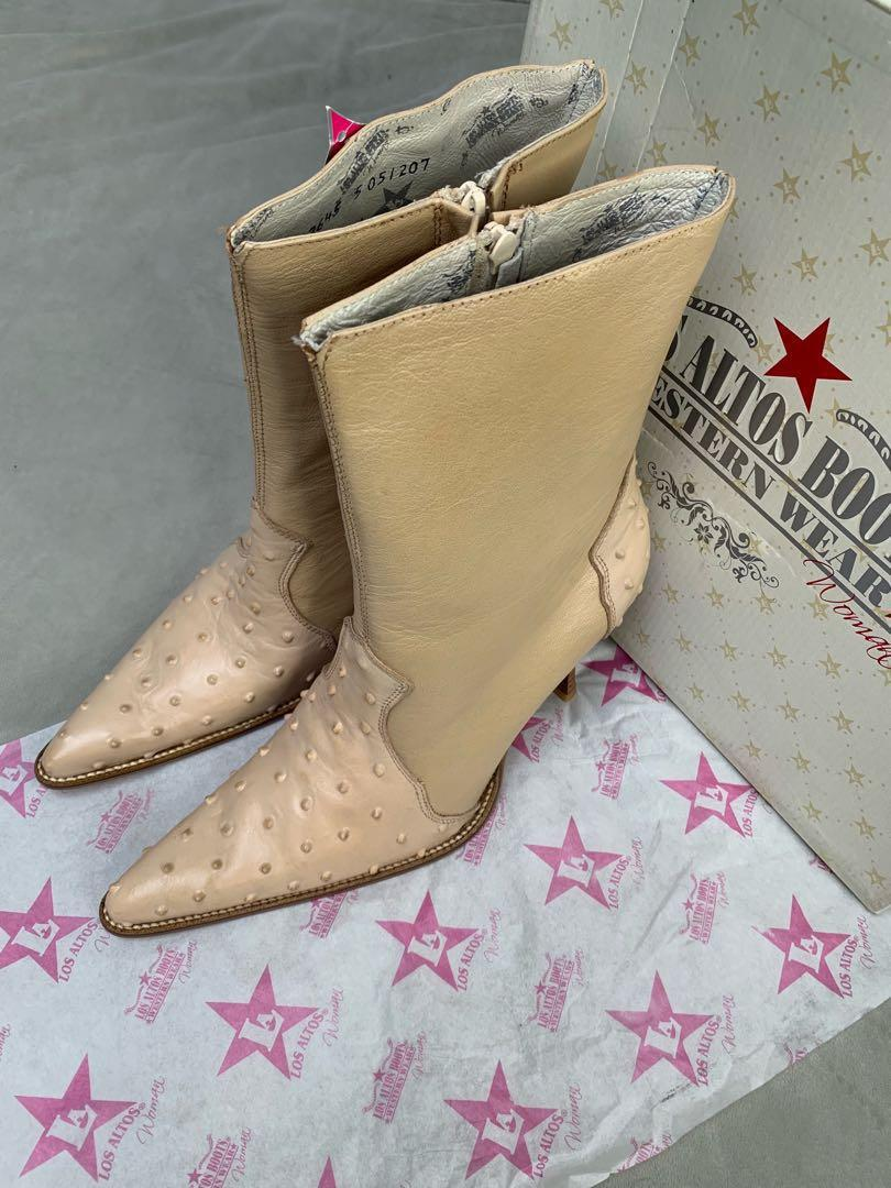 Los Altos size 10 nude genuine ostrich leather western boots