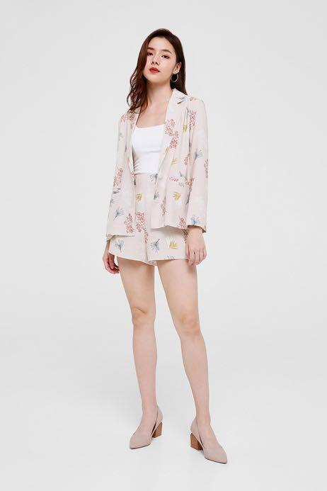 Love Bonito Cherelle Printed Relaxed Fit Blazer (Nude)
