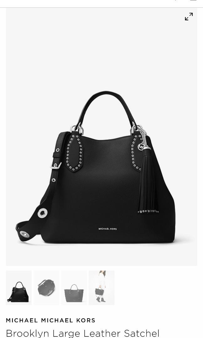 e99885fed35c9d Michael Kors - Brooklyn Large Leather Satchel, Women's Fashion, Bags ...