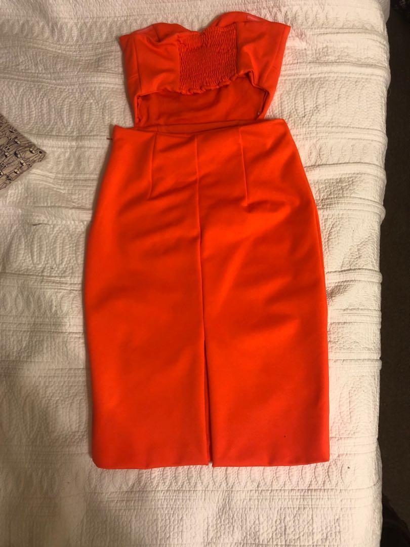 Kookai orange midi dress