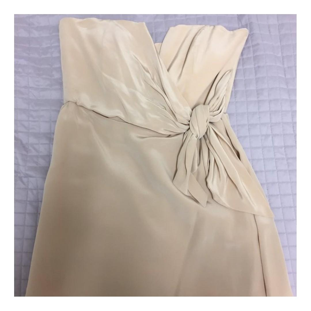 NEW WITH TAG ZIMMERMANN BEIGE SILK STRAPLESS TIE DRESS - SIZE 3 (RRP $295)