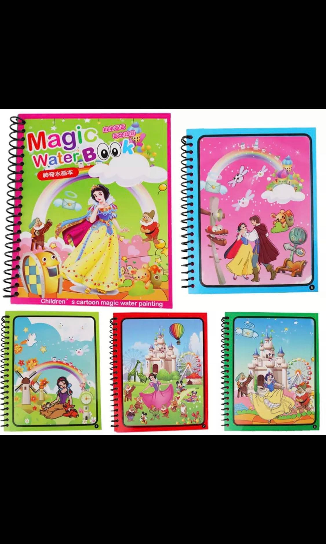 PO) (>1.5Y) Kids Magic Water Coloring Drawing doodle Book with magic ...