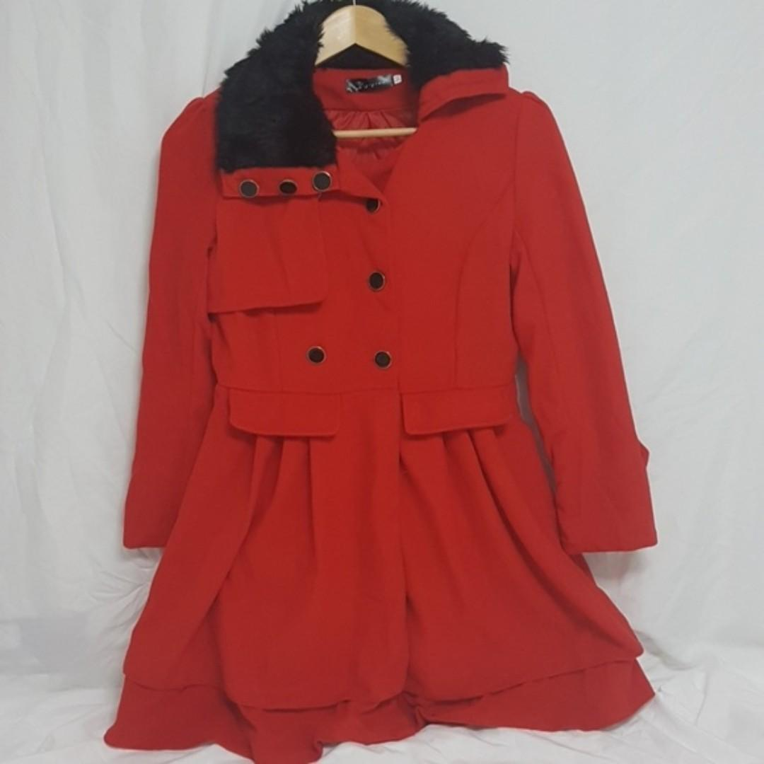 Red Fashion Coat Faux Fur Collar with Black & Gold Buttons Stylish Design