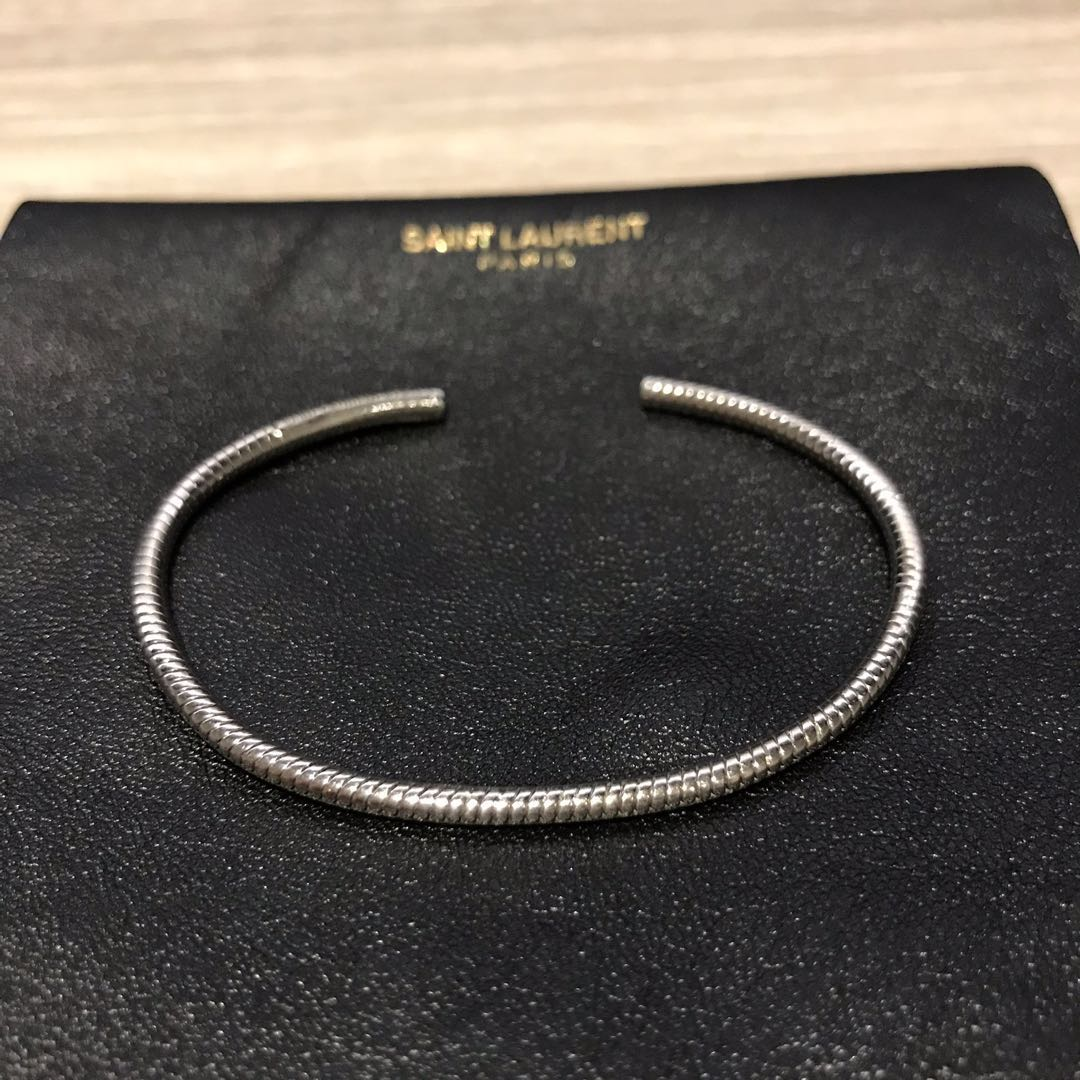 707336a1ddc Saint Laurent YSL Sterling Silver Bangle, Luxury, Accessories, Others on  Carousell