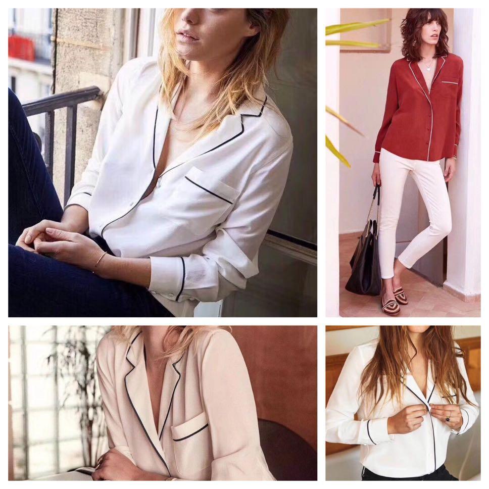 Sezane silk blouse, Women's Fashion, Clothes, Tops on Carousell