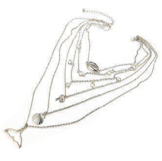 six layered choker in silver (suitable for beach wear)