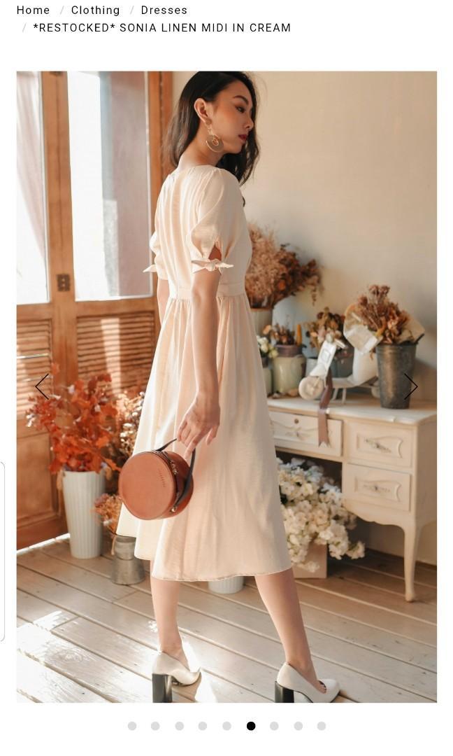Sonia Linen Midi in Cream