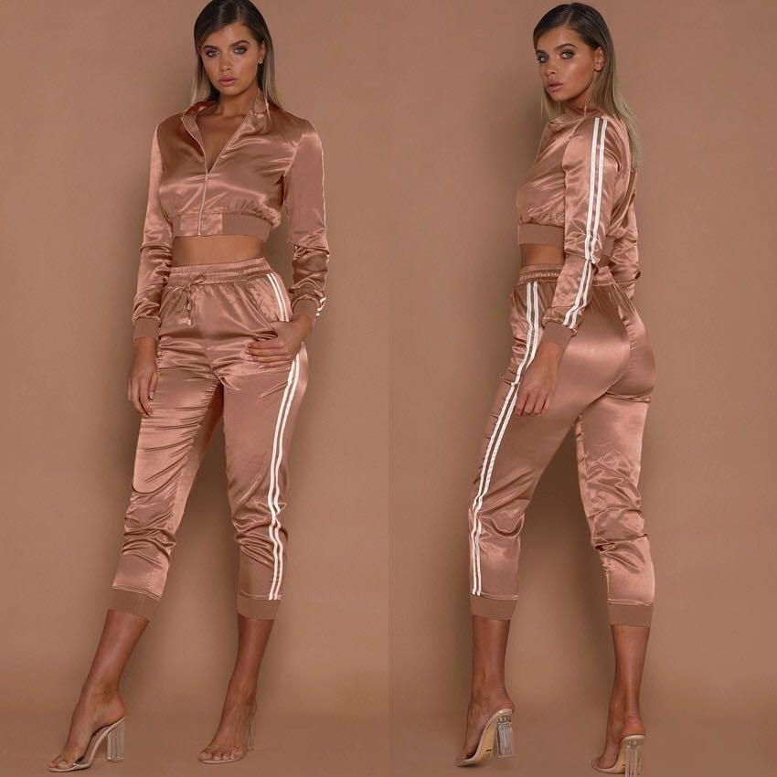 Spring Break 2 Piece Sets Crop Top and Pants Tracksuits