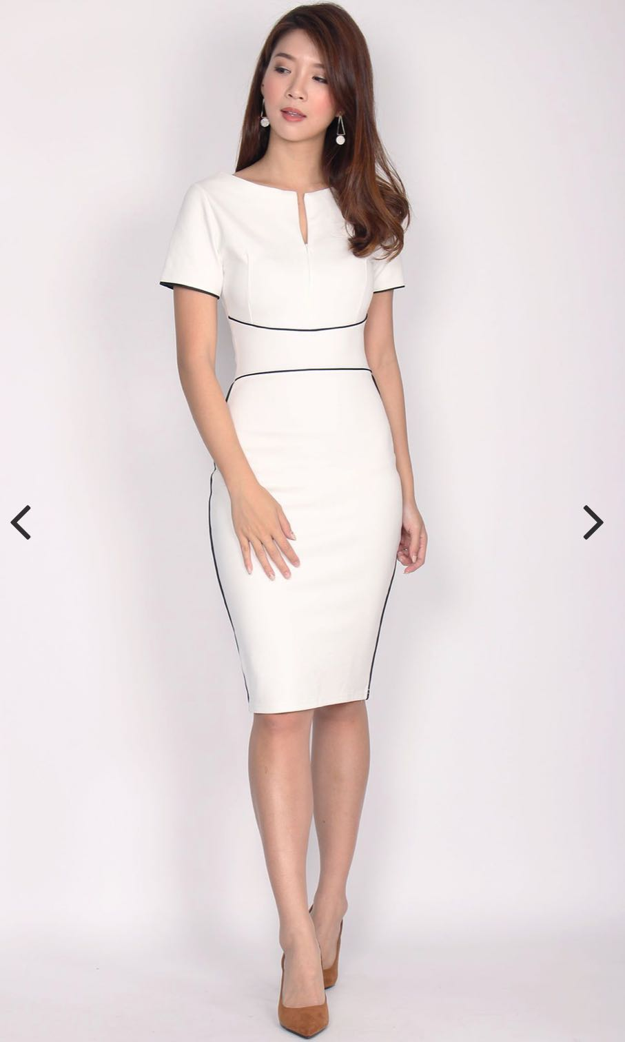 dc40dcb72c TDC Janae Zip Up Border Pencil Dress In White, Women's Fashion, Clothes,  Dresses & Skirts on Carousell
