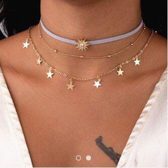 three layered moon and star choker in gold