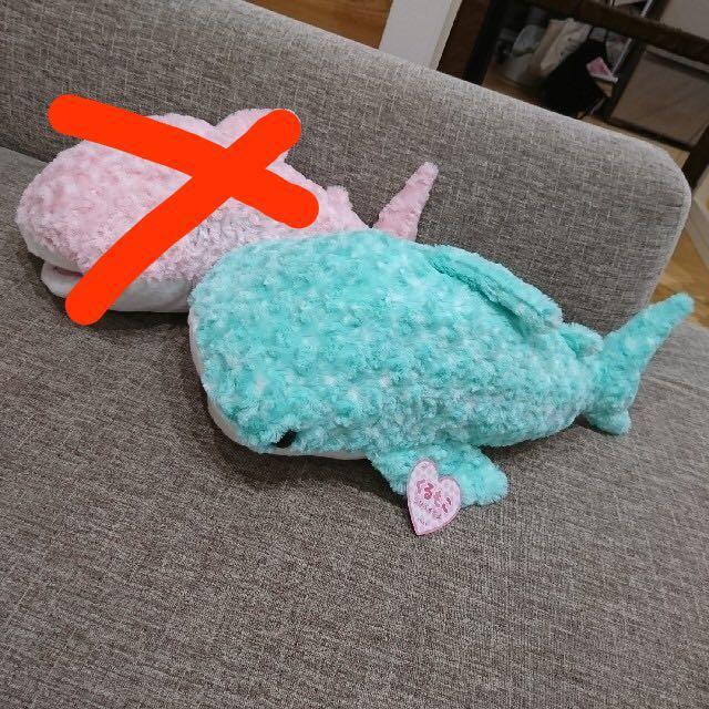 Turquoise Jinbesan Rolling Whale Shark Plush Rolling Whale Shark Rose Fur Stuffed