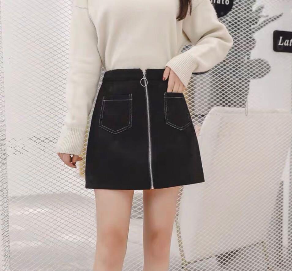 Ulzzang Contrast Stitch Black A-Line Skirt