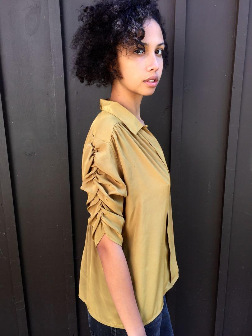 Urban Outfitters Chartreuse Ruched Blouse in Small
