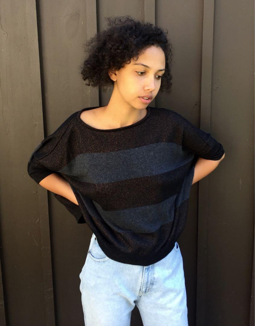 Urban Outfitters Subtle Sparkle Stripe Crop Top In Medium