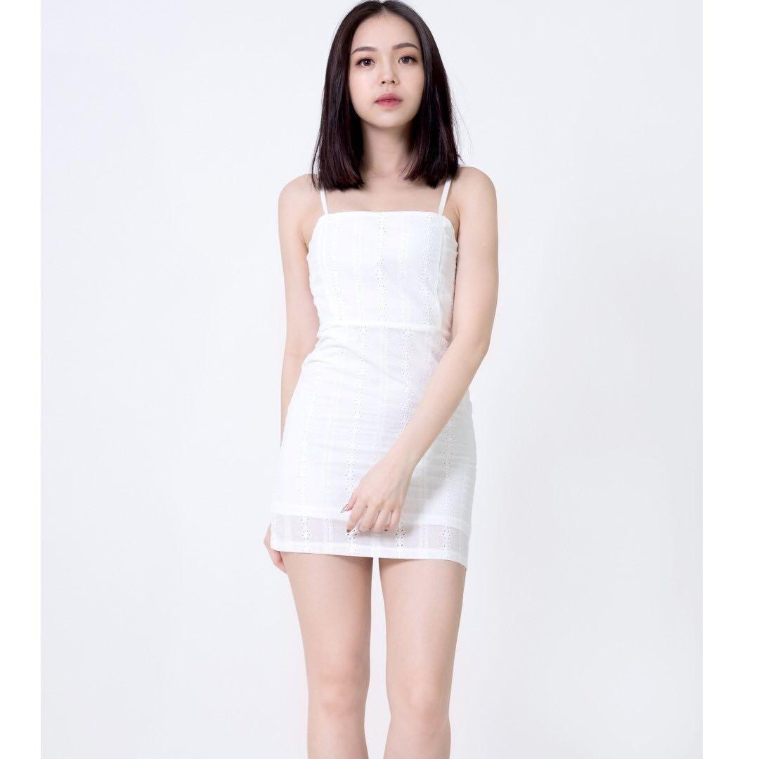 Yarra Eyelet Spaghetti Dress (White)