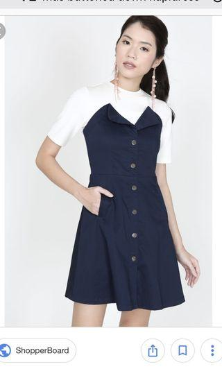 MDS Buttoned Down Flap Dress (Navy)