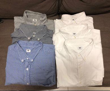Uniqlo slim fit 恤衫 6件 size XL