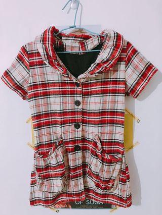 🈵️$500免運‼️(二手)格紋短袖鋪棉上衣外套#半價衣服拍賣會
