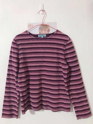 🚚 🈵️$500免運‼️(二手)紫色條紋內刷毛長袖上衣T恤#半價衣服拍賣會