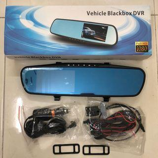 Car DVR (Digital Video Recorder), 2 cameras (front & rear); Touch screen,; built in rear view mirror; Micro SD memory card not included; power cable