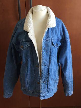 Vintage Wool Collar Jean Jacket in Large