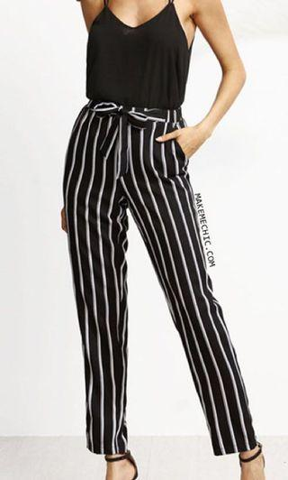 MDS Black White Monochrome Ankle Tie Waist Pants