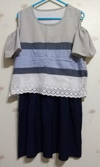 拼色連身裙