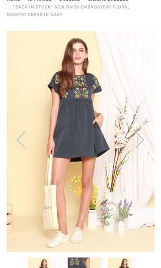 🚚 Embroidery floral romper