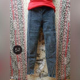 小腳拉鍊造型牛仔褲