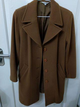 About time brown wool single-breasted wool coat 羊毛 長褸 大褸