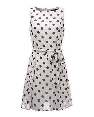 🚚 Sleeveless Chiffon Big Blue Polka Dot in White Knee-Length Dress