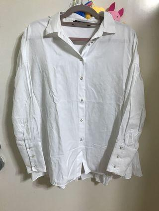 Zara 白色恤衫 oversized