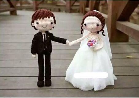 🚚 🎎鈎針毛線白色婚紗新郎新娘壓床娃娃結婚禮物