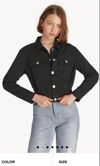 Buttoned front black crop jacket