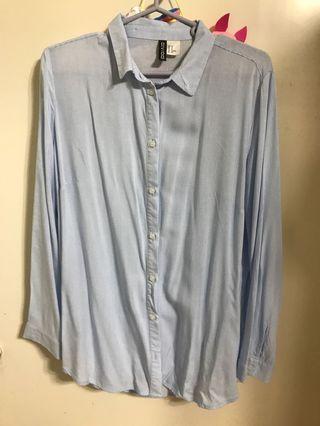 藍白 直間恤衫 H&M