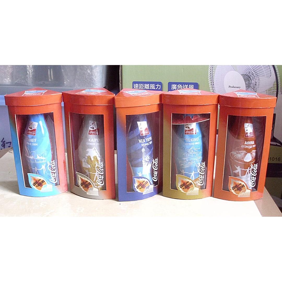 香港04年雅典奧運會可口可樂紀念包膠樽一套五枝