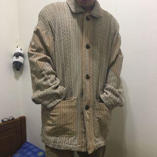 🚚 Vintage古著針織燈芯絨外套 釦子特殊 大衣外套