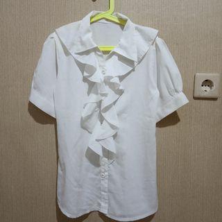 Kemeja Putih ruffle white shirt