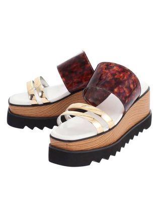 (🇯🇵日本代購) 日幣¥11,880円【MURUA】鞋墊內置加厚加軟記憶棉上腳舒服招搖琥珀金涼鞋 全新
