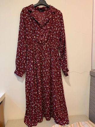 長袖碎花長洋裝 碎花綁帶洋裝 酒紅色 可搭背心 毛衣 歐美 日系 韓系 復古 森林系