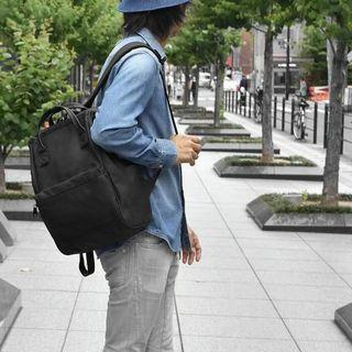 [AT-B2811]2019 New Arrival!! ANELLO LARGE PU BACKPACK-Black